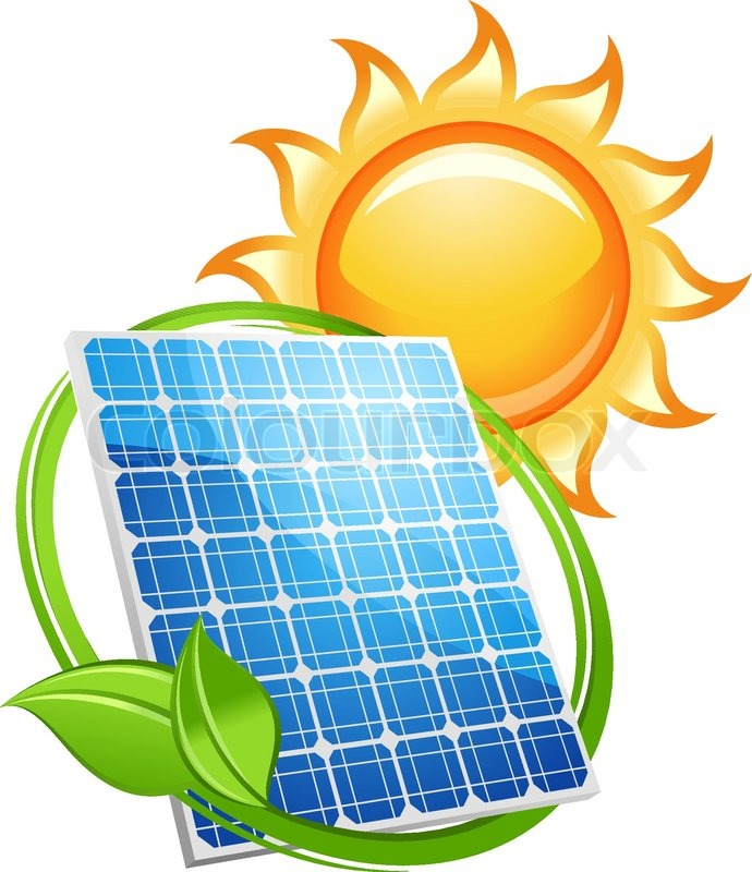 Solar Panel And Batteries With Sun Symbol Stock Vector