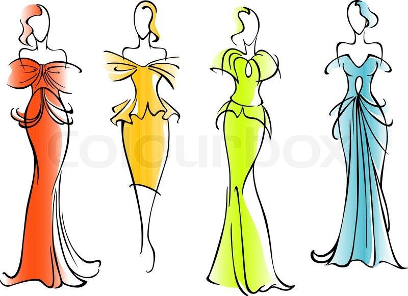 Moderne und elegante kleider f r modedesign vektorgrafik for Schule fur mode und design