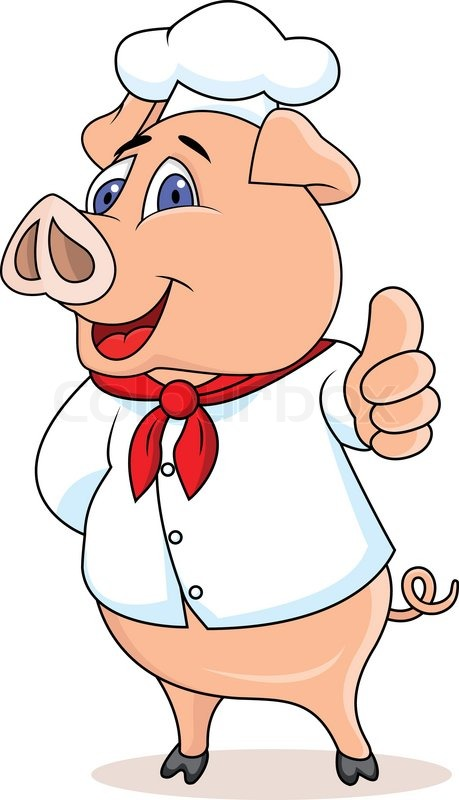 Pig chef cartoon stock vector colourbox - Utensilios de chef ...