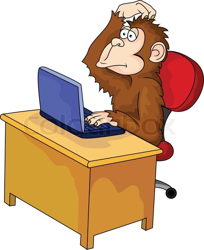 Monkey cartoon with computer | Stock Vector | Colourbox