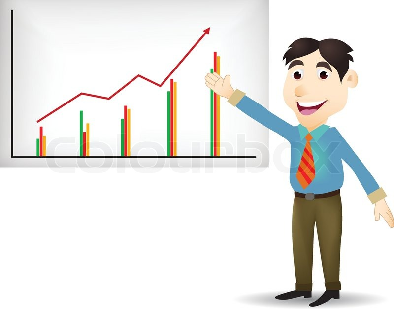 illustration of young business people cartoon presentation stock