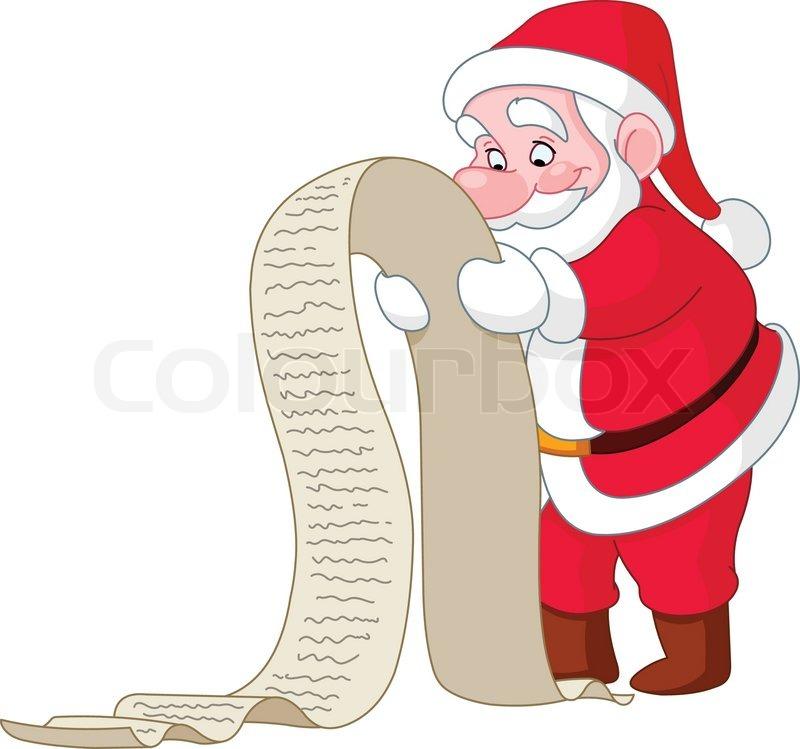 Santa reading a long Christmas wish list | Vector | Colourbox