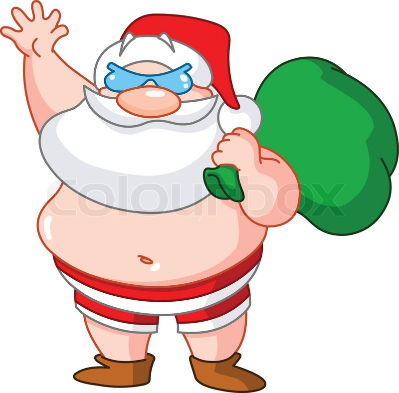 santa claus on the beach wearing swimsuit and carrying Cool Sunglasses Clip Art Cool Sunglasses Clip Art