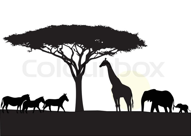 africa silhouette background stock vector colourbox