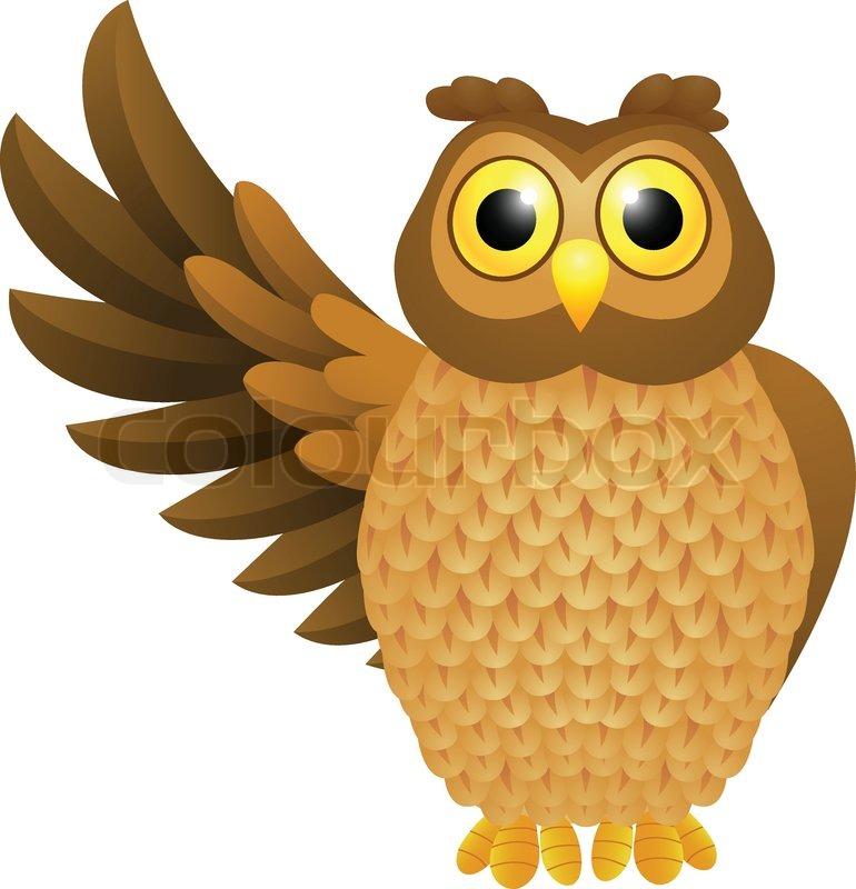 funny owl cartoon stock vector colourbox