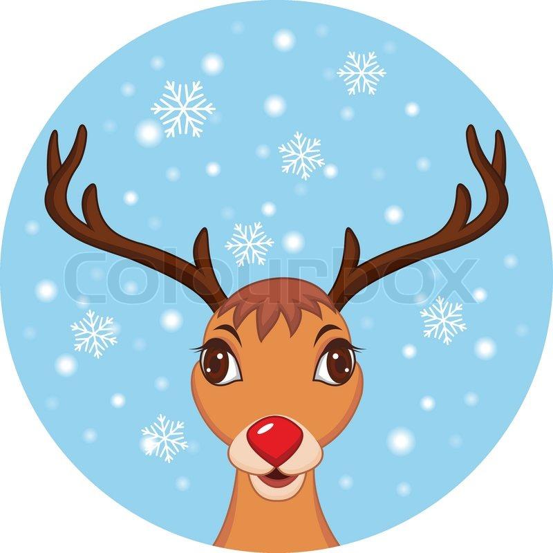 cute christmas reindeer rudolf vector - Christmas Reindeer