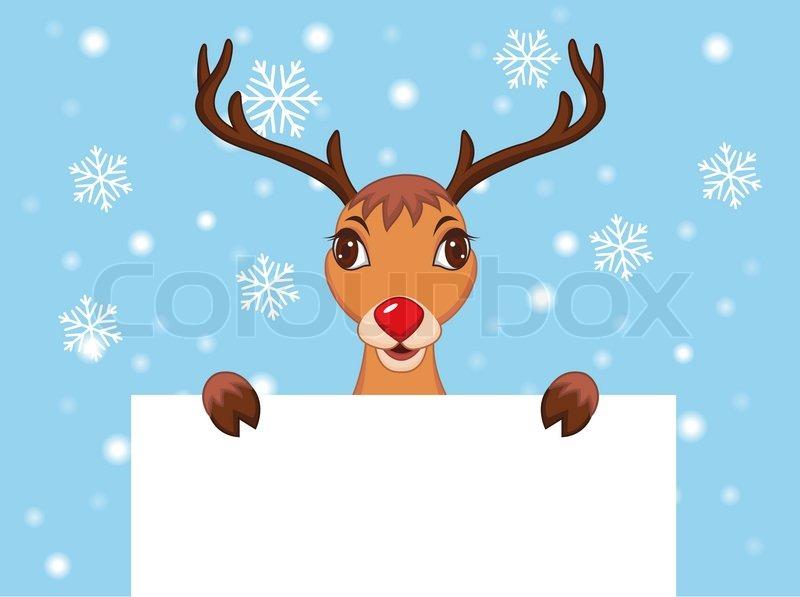 cute christmas reindeer rudolf stock vector colourbox