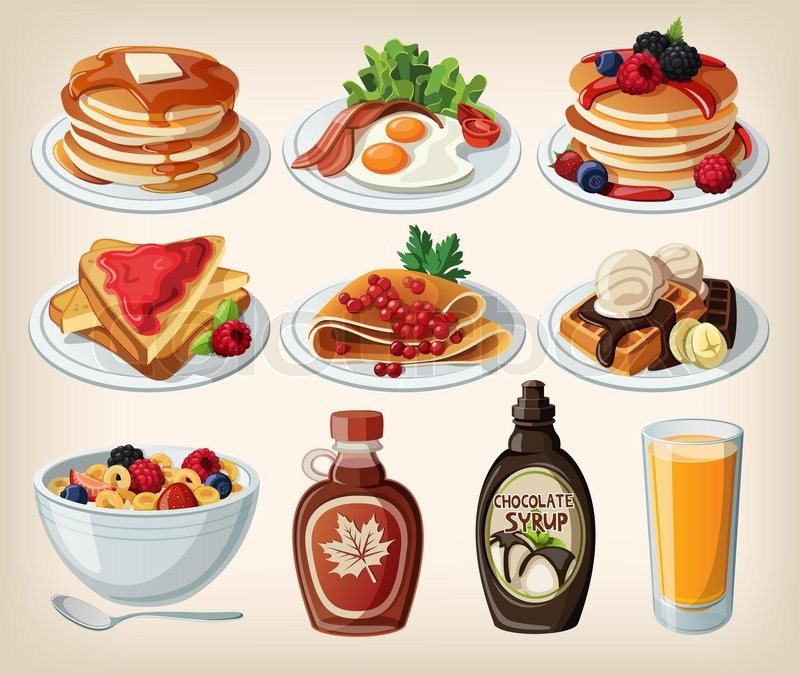 Classic Breakfast Cartoon Set With Pancakes, Cereal