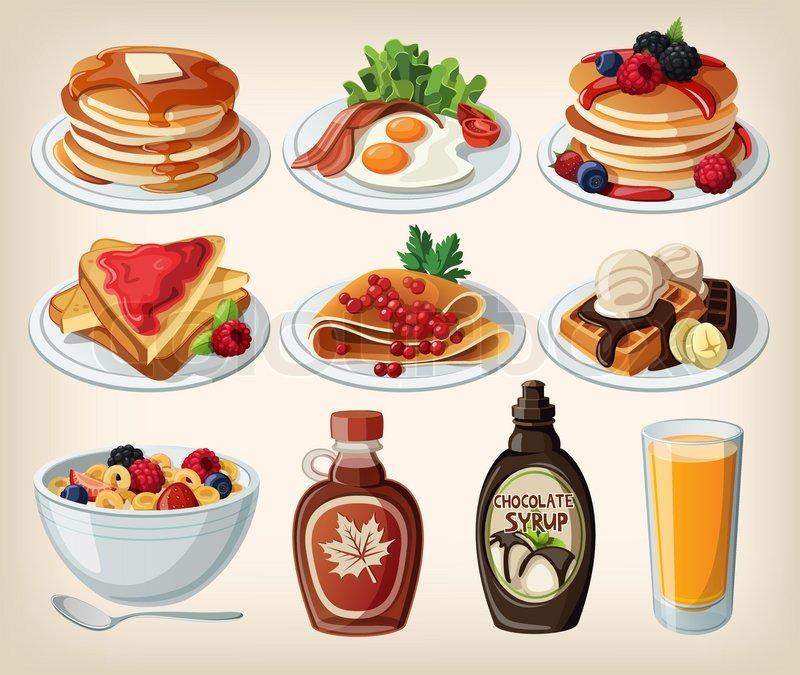 klassisches fr hst ck cartoon set mit m sli toast pfannkuchen und waffeln vektorgrafik. Black Bedroom Furniture Sets. Home Design Ideas