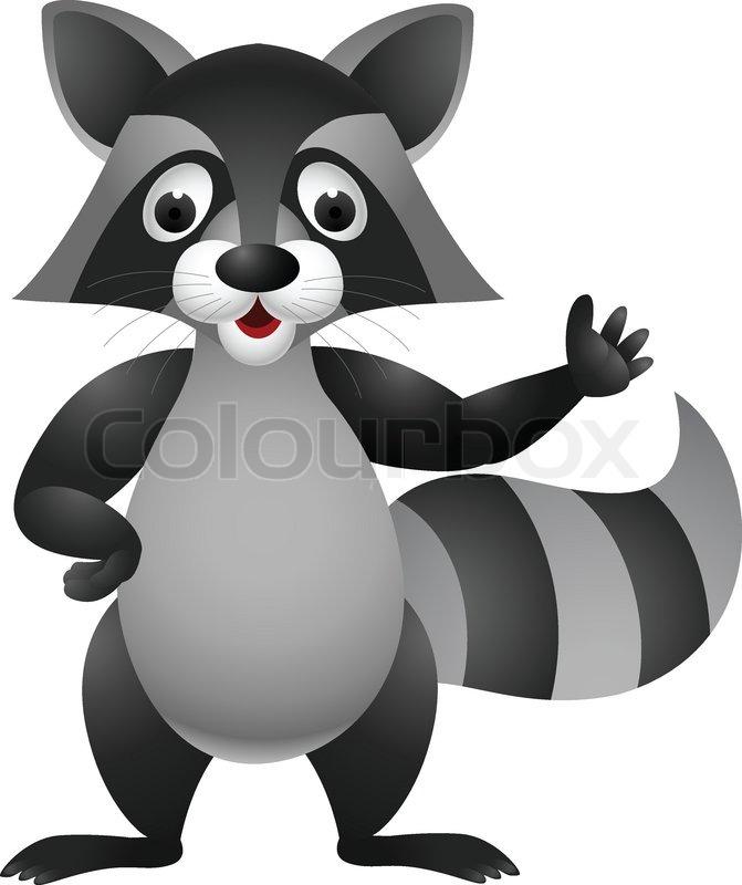 Raccoon cartoon hand waving  Stock Vector  Colourbox