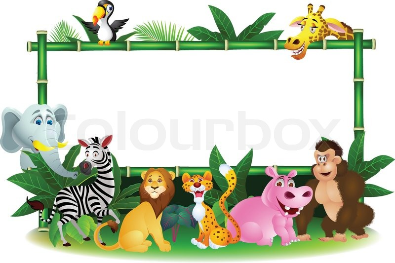 Animal Cartoon With Blank Sign Stock Vector Colourbox