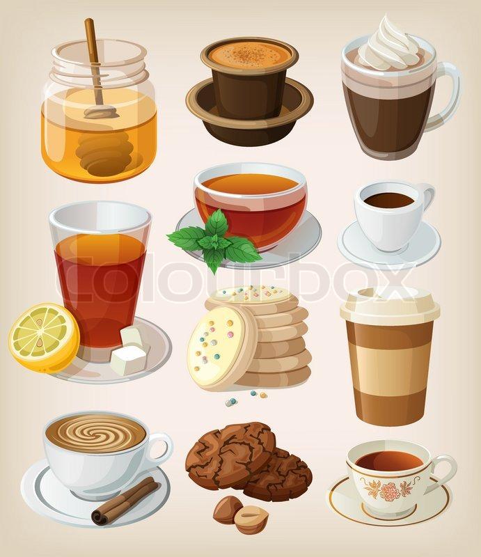 Menge leckere heiße Getränke: Kaffee, Tee und Zubehör. isoliert ...