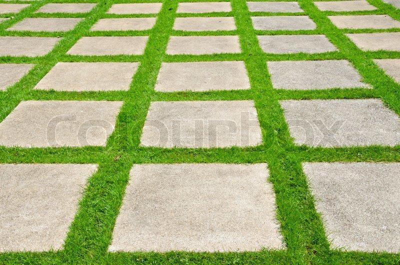 Grass Between Stones Block Paving Stock Photo Colourbox