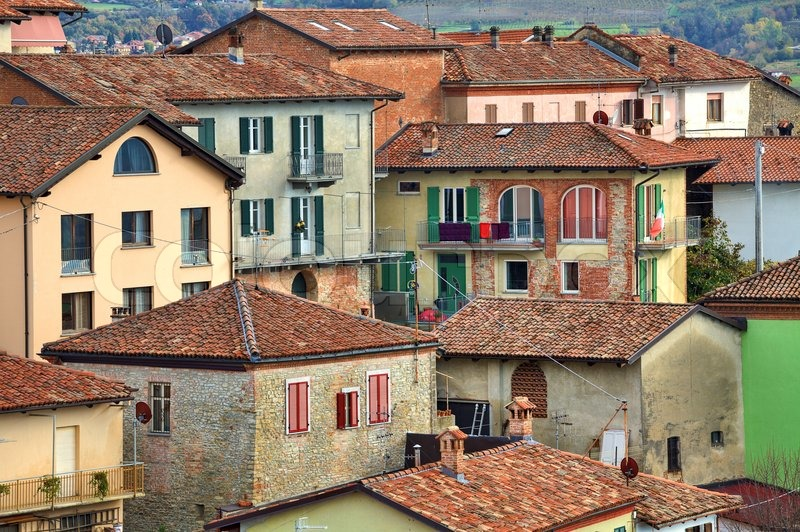 Traditional Colorful Italian Tiled Roof Houses At Town Of