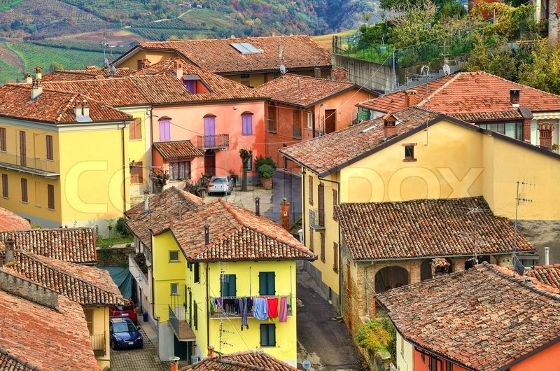 Aerial View On Traditional Colorful Italian Tiled Roof