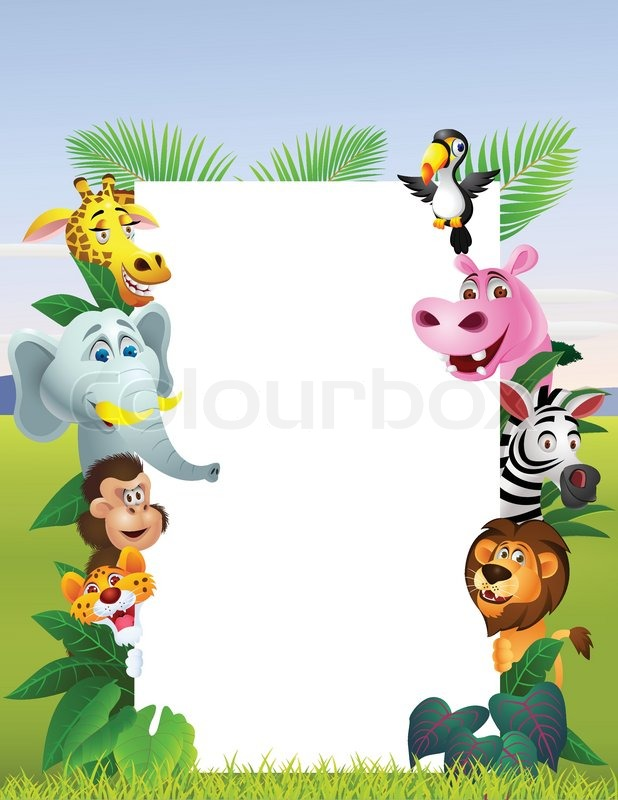 wild african animal cartoon with blank sign stock vector rhino clipart black and white rhino clipart black and white