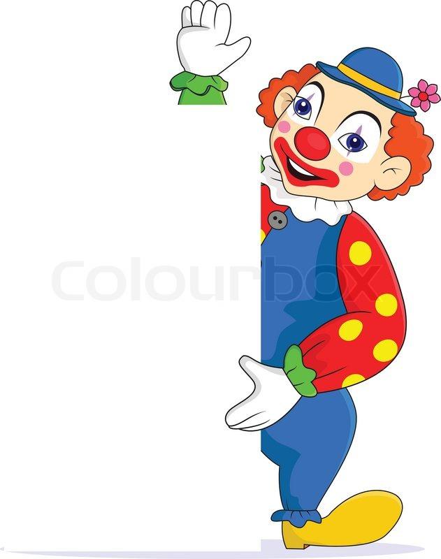 lustige clown mit leere zeichen stock vektor colourbox. Black Bedroom Furniture Sets. Home Design Ideas