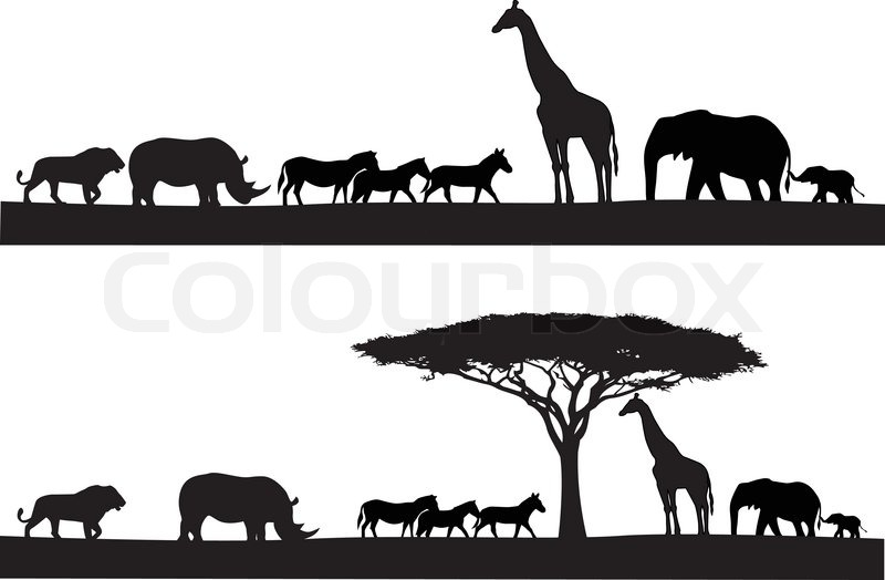 Line Art Jungle Animals : Safari animal silhouette stock vector colourbox