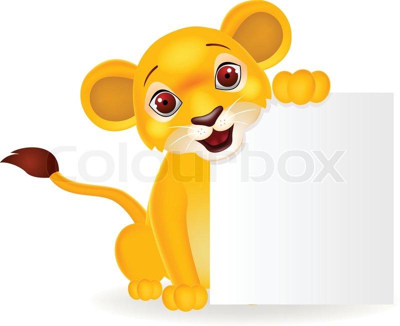 Baby lion cartoon with blank sign stock vector colourbox