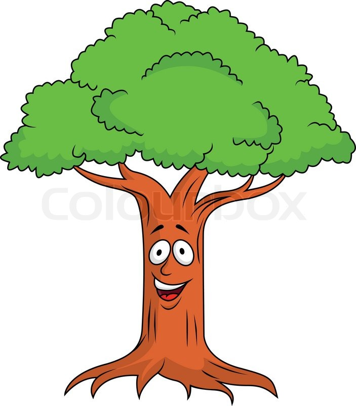 Tree cartoon character | Vector | Colourbox