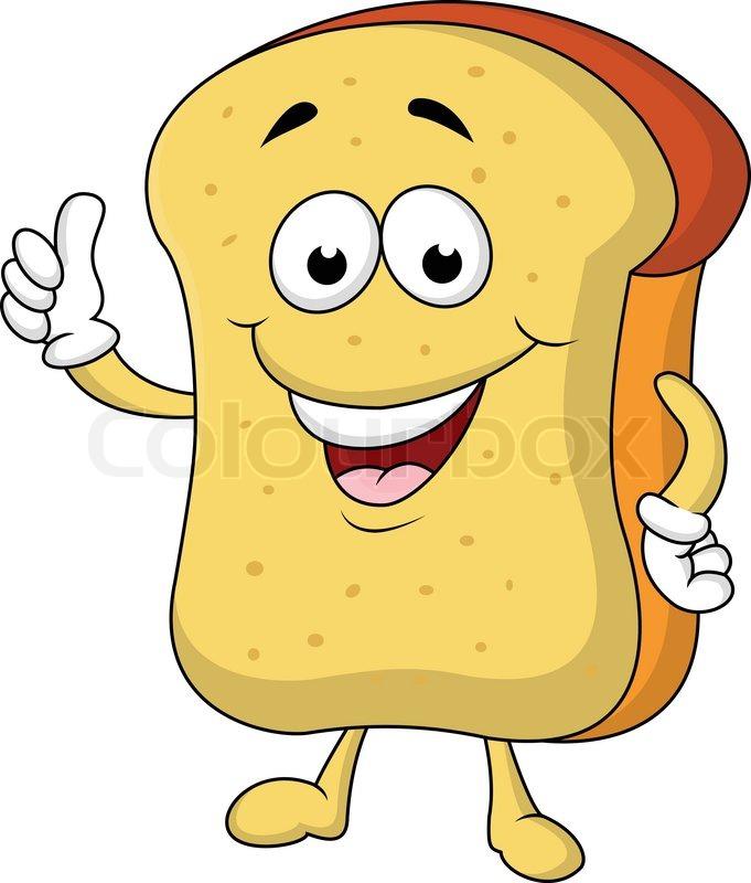 Slice of bread cartoon character | Stock Vector | Colourbox