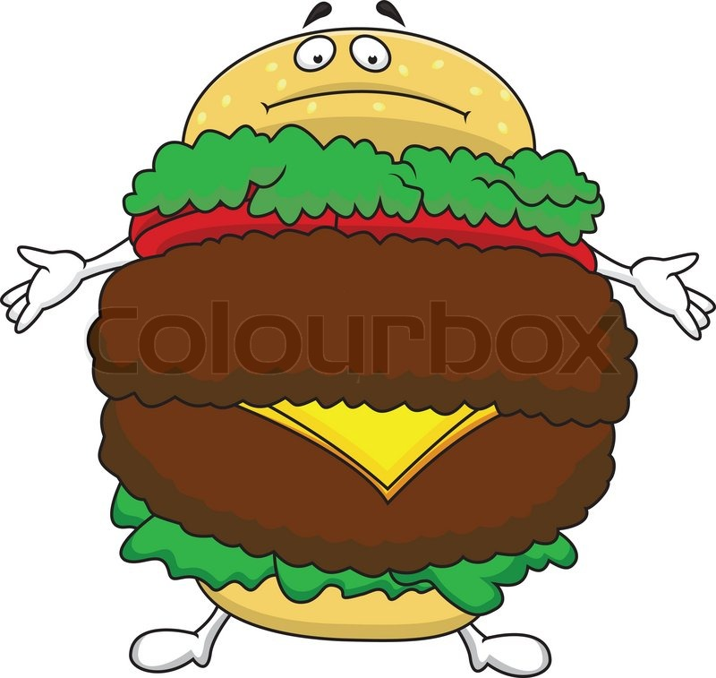Fat Burger Cartoon Character Stock Vector Colourbox