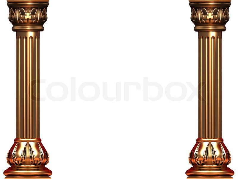 Gold Ionic Columns On White Bg Stock Photo Colourbox