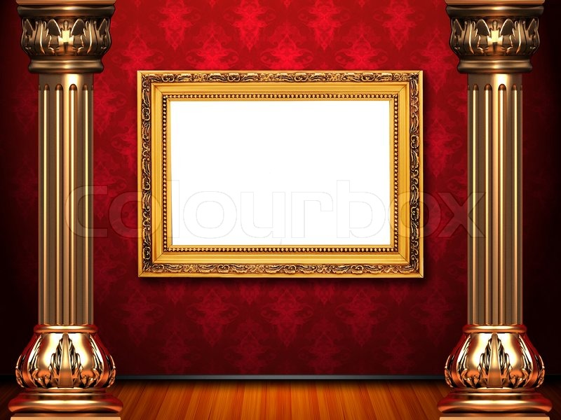 Golden frame on theatre red curtain stage | Stock Photo | Colourbox