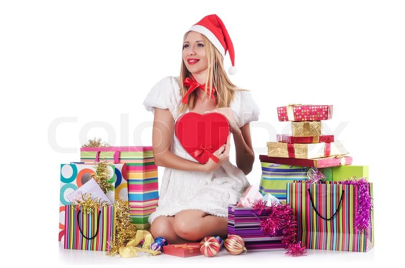 Young Woman In Christmas Shopping Concept Stock Photo