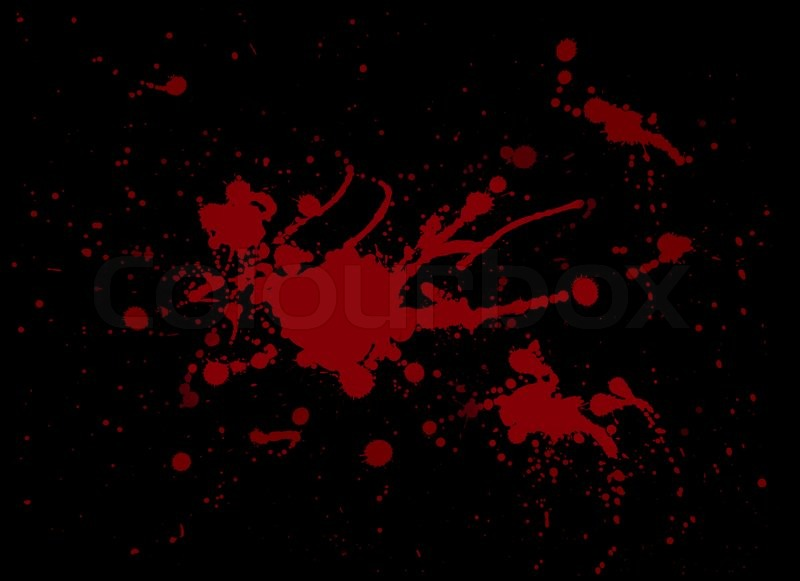 Red blood splash painting on Black | Stock Photo | Colourbox