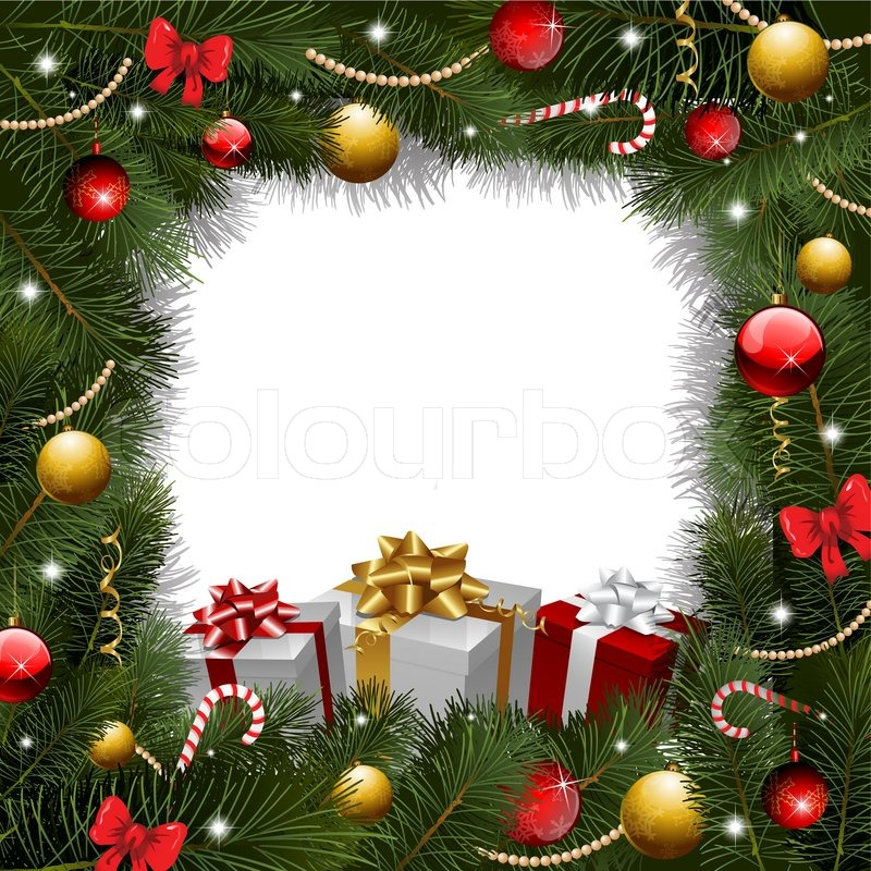 Christmas wreath background with gifts | Stock Photo ...
