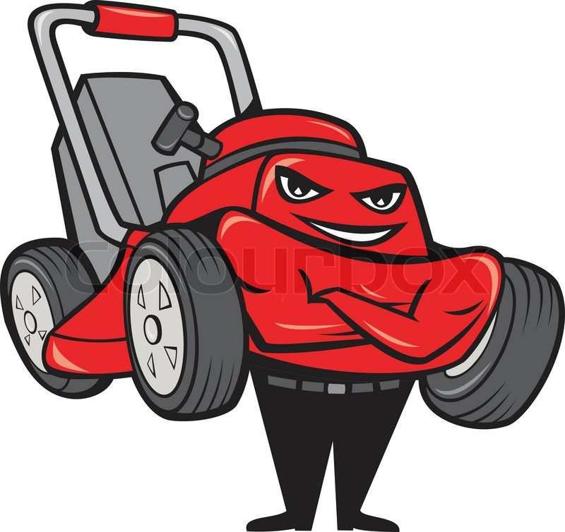 Cartoon Man On Mower : Lawn mower man standing arms folded cartoon stock vector