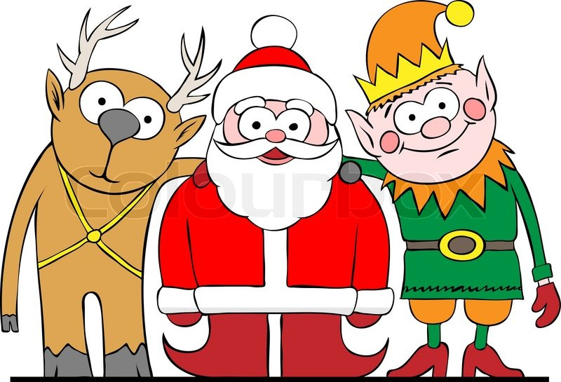 santa elf and deer posing to camera vector illustration stock vector colourbox - Santa With Reindeer Pictures