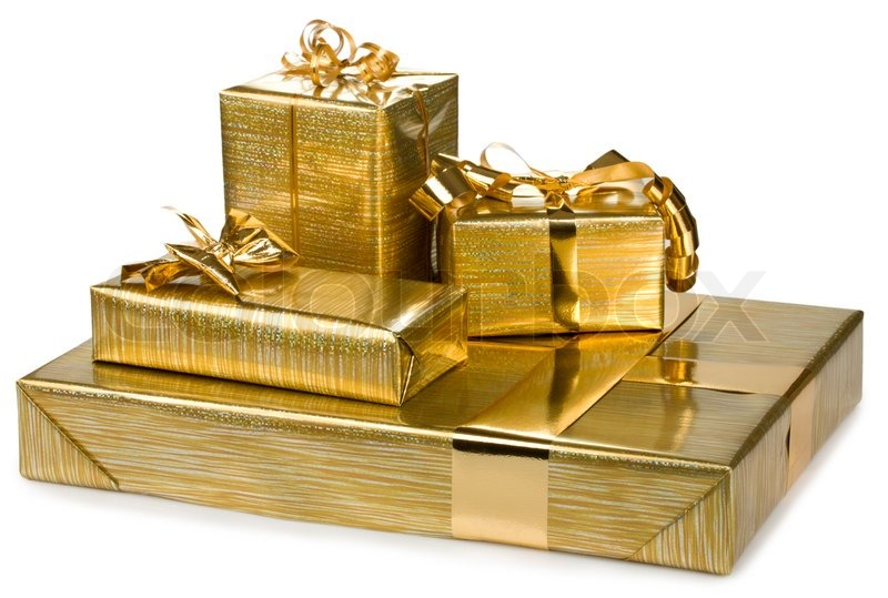 Gift Box Gold : Golden gift boxes with gold ribbon stock photo colourbox