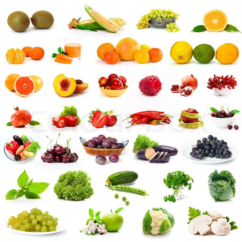 Stock image of 'Vegetables and fruits set'