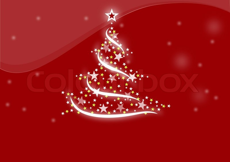 Red Christmas Background With Xmas Tree And Gifts: Christmas Tree Red Background, Celebration, Holiday