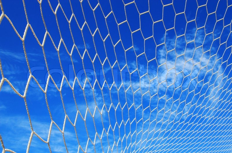 Soccer Football On Green Field With Blue Sky Background: White Net Football, Soccer ,blue Blue Sky Background