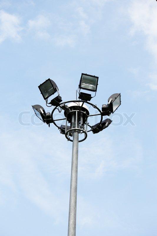 Light pole in sky, stock photo