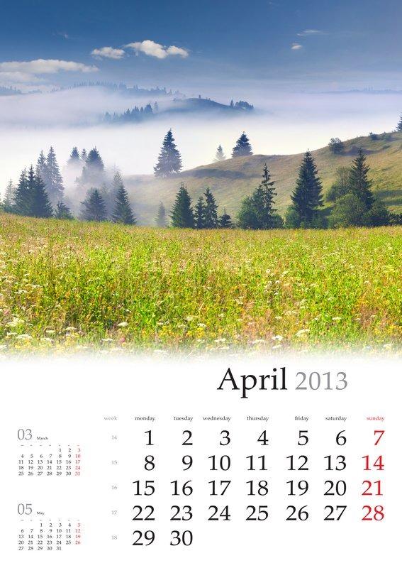 landscape calendar 2013 Calendar April Beautiful spring landscape in the mountain ...
