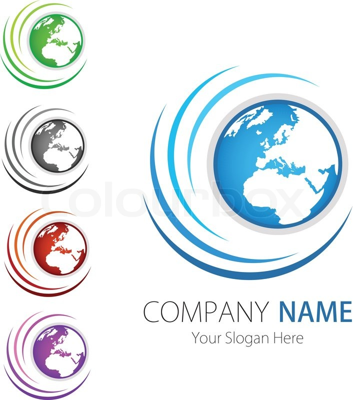 Company Business Logo Design Vector Earth Stock