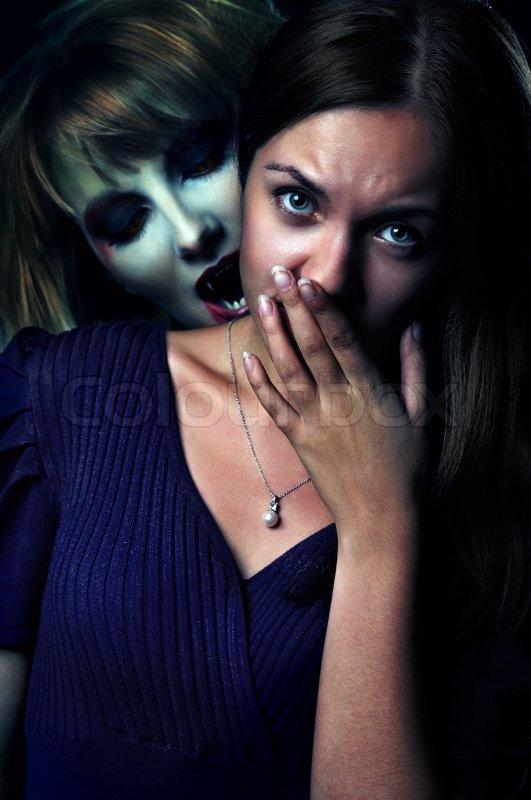 Vampire Bites Scared Girl Stock Photo-1395