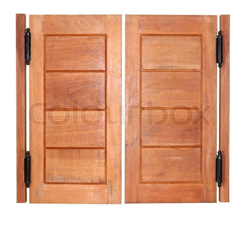 Double swing wood door | Stock Photo | Colourbox