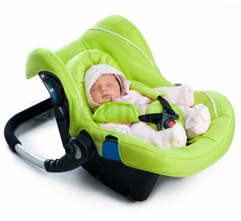 neugeborenes baby in einem autositz stock foto. Black Bedroom Furniture Sets. Home Design Ideas