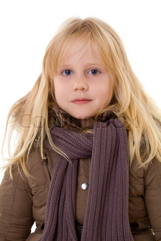 Little Blonde Girl Child In Street Clothes Stock Photo