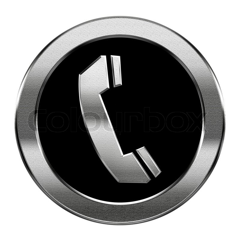 Phone Icon Silver Isolated On White Background Stock