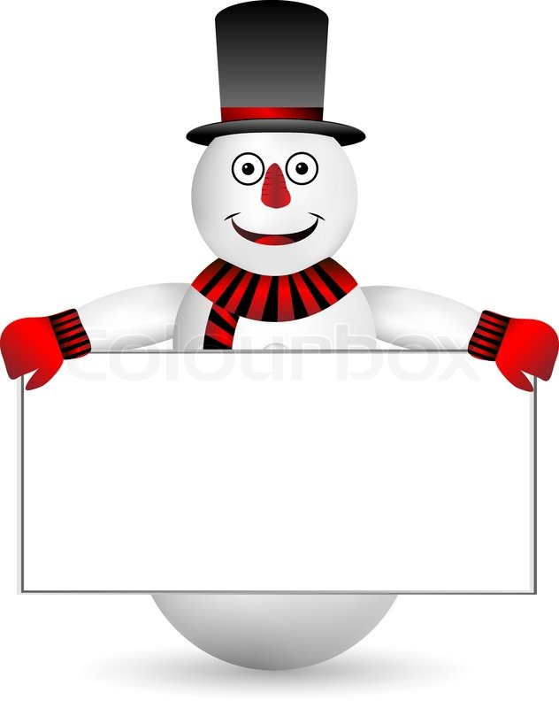 snowman with sign on white background
