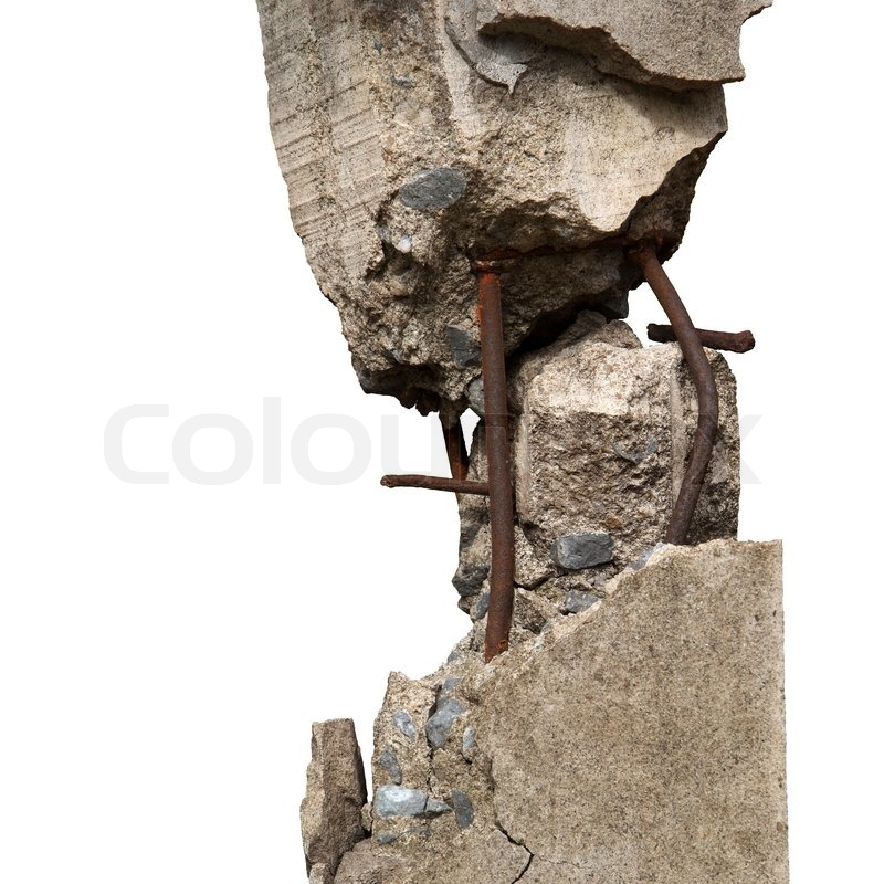 Broken Stone Pillar : Broken concrete pillars and steel structures seen stock