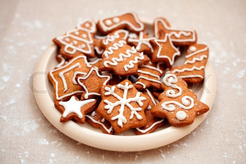 Plate of christmas cookies with festive decoration | Stock Photo ...