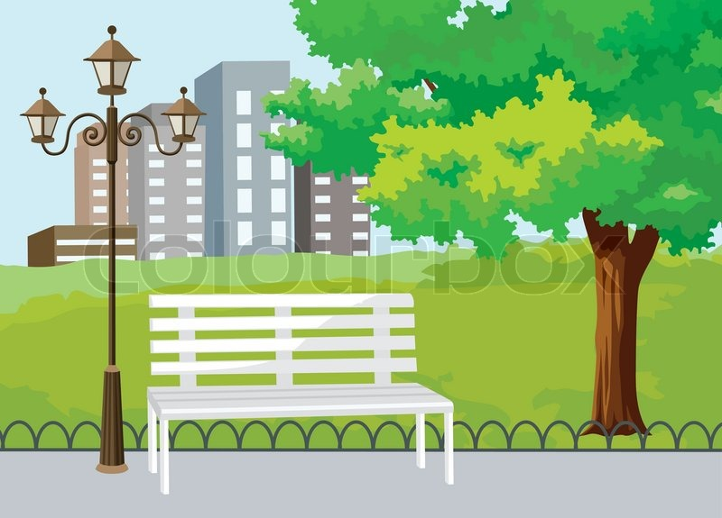 Public Park in The City Vector Background | Stock Vector | Colourbox