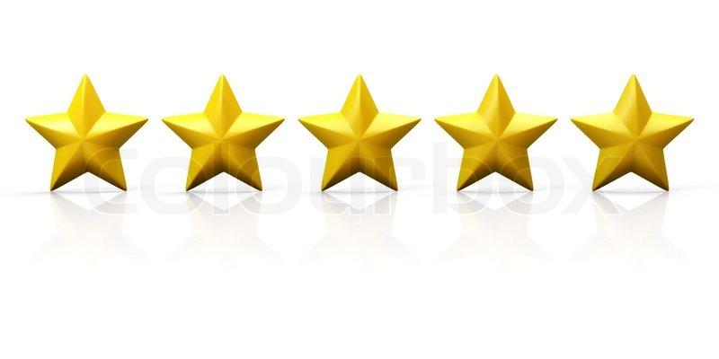 row of five yellow stars on glossy plane stock photo